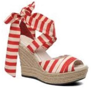 NEW UGG Luciana Striped Silk Wrap Wedge-Size 10